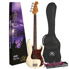 SX Vep62vwh P&j Vintage Style 4 String Bass Guitar in Vintage White With Gig Bag
