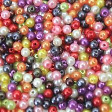 500Stk Bastelperlen Rund Glasperlen 4mm Perlen Spacer Glas Mix Farben Handarbeit