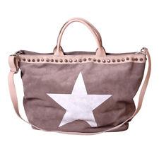 XL Wildleder Tasche Shopper Made in Italy Handtasche Stern Beige HH 002