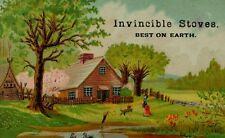 WM. Rolfe & Co Invincible Stoves Country Home Scene Pond Dog Lady Trees F74