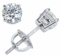 1/2 ct. White Sapphire Screw Back Round Stud Earrings - 14k White Gold/Silver