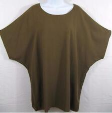 TIENDA HO~GOLDEN BROWN~Dolman s/s Box Top~FLAT Rayon~FLAWED~OS