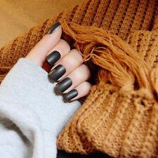 24pcs Black French Cover False Manicure Matte Bride Full Nails Art Nail Tips