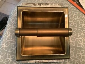 Antique Brass Toilet Tissue Paper Holder Recessed with mounting bracket