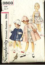 Simplicity #3803 Girls' Dress/Coat/TULIP Hat/Detach.Collar&Cuff sz3 1958 scarce