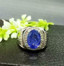 Precious Tanzanite 5.81ct Gemstone 925 Sterling Silver Engagement Unisex Ring