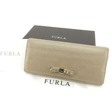 Furla Wallet Purse Long Wallet Beige Woman Authentic Used Y7209