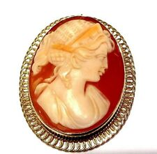 Cameo Pin Brooch Vintage 14k Yellow Gold