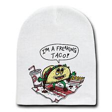 Freakin Taco Funny Mexican Food Cartoon Beanie Skull Cap Hat Winter Stocking New
