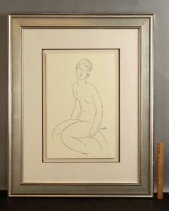 Large Authentic AMEDEO MODIGLIANI Seated Nude Woman Sketch Drawing SERIGRAPH