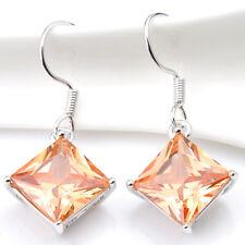 Solid Silver 12*12 mm Square Cut Natural Morganite Gemstone Dangle Hook Earrings