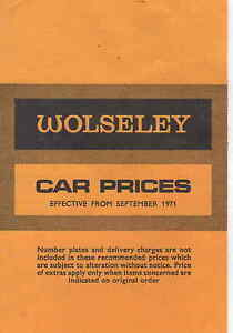WOLSELEY PRICE LIST 1971/2    *POST FREE UK*