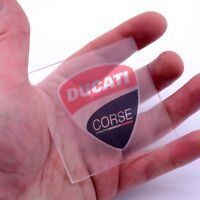 Ducati Corse CLEAR Stickers Vinyl Decals x2 50mm Window Panel Helmet