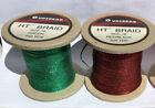 "2 Spools Gudebrod Metallic Flat Braid Soutache Green & Red/Black 1/8"" 250 Yd ea"