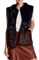 Love Token NEW Genuine Rabbit Fur Colorblock Long Vest L Navy Chocolate NWT $383