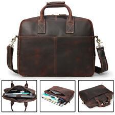 "Vintage Men Leather Briefcase Attache 15"" Laptop Handbag Messenger Crossbody Bag"
