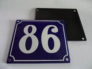 Old French Blue Enamel Porcelain Metal House Door Number Street Sign / Plate 86