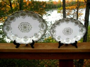 2 ANTIQUE J & G MEAKIN GRADUATED PLATTERS CHATHAM GREEN & GOLD
