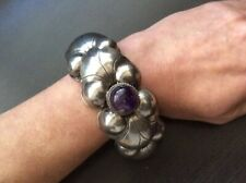 Vintage Sterling Silver Amethyst Stone Mexican Bracelet Stamped Mexico