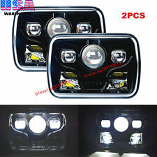 "2x 7x6"" Projector LED Headlights Black Rectangular Sealed Beam LED Headlamp 7x6"""