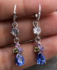 18K White Gold Filled - 1.5'' Navy Blue Waterdrop Topaz Amethyst Women Earrings