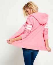 New Womens Superdry Track & Field Zip Hoodie Winning Pink Snowy