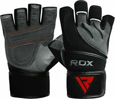 RDX Weight Lifting Gloves Leather Gym Powerlifting Bodybuilding Fitness Training