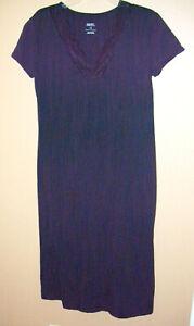 Gilligan & O'Malley Sleepwear Long Nightgown L Black Lace Trim V Neck Cotton Bln