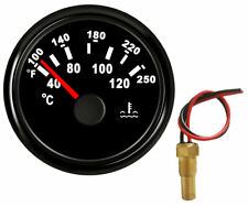52mm water temp gauge with sender 100-250F 287.4-22.4 ohms black for auto marine