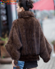 100% Real Knitted Mink Fur Pullover Poncho Coat Cape Jacket Warm Fashion Handmad