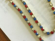 Red White Blue Swarovski Rhinestone Chain New Off Roll 20 Feet