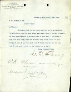 1890 Centralia Washington (WA) Letter C. D. Fleming Real Estate Loans
