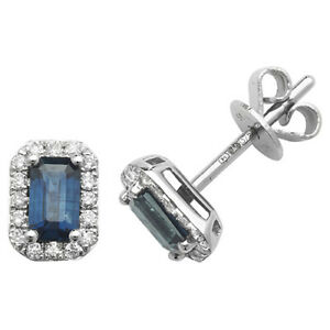 9ct White Gold Octogon Shaped Sapphire and Diamond Stud Earrings