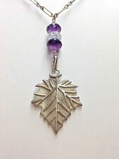 Sterling Silver Sycamore Pendant with Amethyst, Peridot and Aquamarine Beads