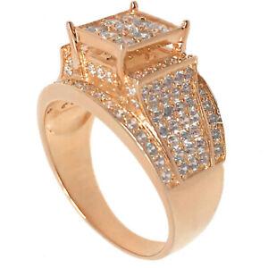 Ladies Big Top Rose Gold Finish White Cz's Women's Bridal Engagement Ring Band