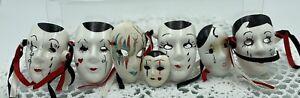 Vintage Miniature Decorative Masks X 7, Hand Painted, Wall Art, Excellent #3