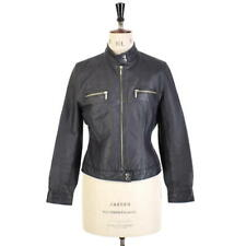 Women's Retro Black REAL LEATHER Cropped Motorcycle Fitted Biker Jacket UK 10