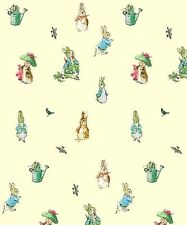 Dollhouse Miniature Peter Rabbit Nursery Computer Printed Fabric Cotton Yellow