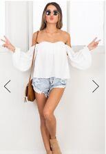 Showpo Women's After Sundown Top White Size Medium (6) Aus Size 10