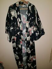 ICHIBAN- Genuine Vintage-Japan-Unworn-Crane Bird Print Long Kimono Dressing Gown
