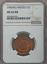 MEXICO ESTADOS UNIDOS 1906  2 CENTAVOS COIN CERTIFIED UNCIRCULATED NGC MS64-RB