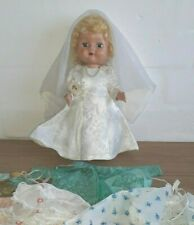 Vintage 50s Hart Plastik Konfirmation Kommunion Braut Puppe & extra Kleidung 10