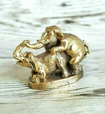 Duo Mating Erotic Elephant Figurine Making Lover Love Success Pocket Brass Mini