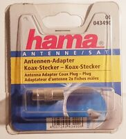 Antennen-Adapter Koax-Stecker zu Koaxial HAMA 43490 Antenne SAT Weiss Weiß NEU