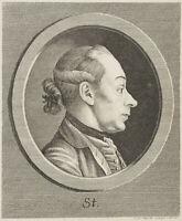J.STURM(*1742), Selbstporträt des Künstlers im Profil, um 1775, Kupferstich