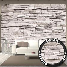 Fototapete weiße Steinwand Wandbild Deko Steinoptik Schiefer Tapete 336 x 238 cm