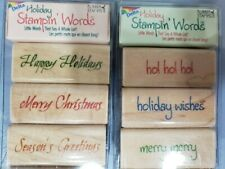 Rubber Stampede Holiday Stampin Words NEW 6 Rubber Stamps Christmas