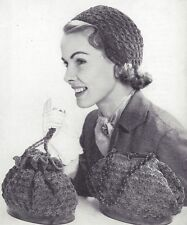 Vintage Crochet PATTERN to make Helmet Hat Cloche Handbag Purse Bag Shell Stitch