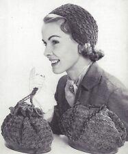 Vintage Crochet PATTERN to make Helmet Hat Cloche Handbag Purse Bag Shell Stitch