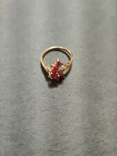 Vintage  THL 10K Yellow Gold Ruby Diamond Floral Cluster Cocktail Ring